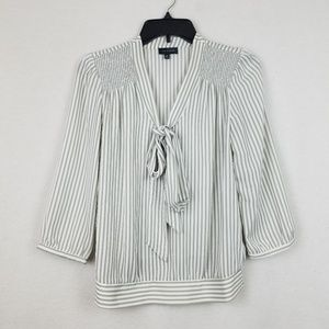 The limited Pin Stripe Tie Neck Blouse